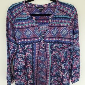 Lucky Brand large blue/pink Aztec print tunic